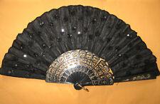 Black Ladies Fabric Hand Held Fan / Ladies sequin hand Fan / Party Dancing Fan