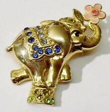 Bijou Vintage broche rétro éléphant émail cristaux porte bonheur couleur or 1895