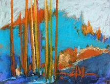 Original Abstract Blue LANDSCAPE  Pastel Painting JMW art John Williams scene