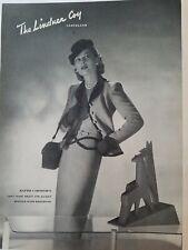 1944 Hattie Carnegie women's grey wool dress jacket vintage fashion ad