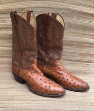 Justin Boots Men's Full Quill Ostrich Cowboy Western Size 11D USA Cognac 8925