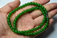 China natural fashionable noble green jade stone bead necklace LJQ417