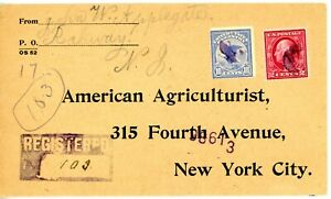 USA F1 USED ON 1914 REGISTERED COVER NW JERSEY TO NEW YORK CITY