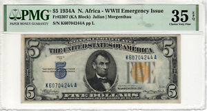 1934 A $5 SILVER CERTIFICATE NOTE NORTH AFRICA FR.2307 KA BLOCK PMG CH VF 35 EPQ