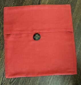 """Pottery Barn Linen Pillow Cover Wood Button 18"""" X 18"""" Red Solid Throw"""