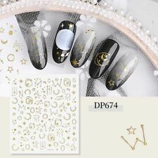 Nail Art Water Decals Stickers Gold Sun and Moon Stars Zodic Space Dots (DP674)
