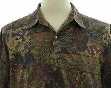 Tori Richard Tapa Pattern Tiki Flower Cotton Hawaiian Shirt Mens Large Aloha USA