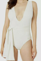 NWT Vince Camuto Women's Off-White Plunge V-Neck Wrap One-Piece Swimsuit Size 6