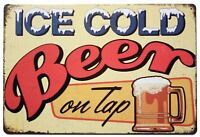 """ICE Cold Beer On Tap Retro Metal Sign 8"""" x 12"""""""