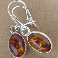 Baltic Amber & STERLING SILVER Earrings DANGLE 9x31mm Made in Poland