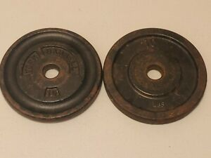 """2x Vintage Barbell Milled York 1"""" 10lb Weight Plates (20lbs Total) Read Descrip"""