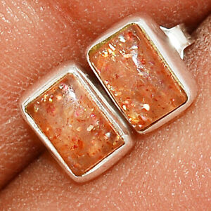 Natural Sunstone - Madagascar 925 Sterling Silver Earring - Stud Jewelry BE52901