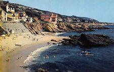 Laguna Beach California bird's eye view beach scene vintage pc (Z9403)