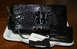 Brahmin Kayla Melbourne Large Clutch / Wristlet and Matching Small Wallet-Black