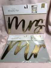 Mr & Mrs Gold Chipboard Signs For Chairs At Wedding Reception