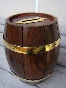 Superbe Tirelire tonneau en bois et laiton neuve hauteur 12cm diametre 10cm