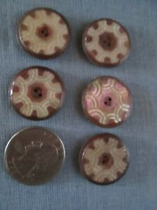 Antique Victorian Abalone Buttons Highly Decorated Purple Iridescent 15/16""