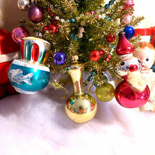 3 Vintage Glass Xmas Figural Ornaments Germany Italy Urn Santa Mica Fluted Lamp
