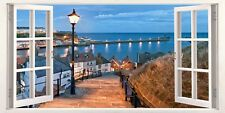 Evening in Whitby Yorkshire Uk 3D Effect Window Canvas Picture Art Wall Prints