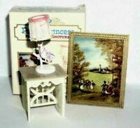 Lyre Table Set Picture PETITE PRINCESS Miniature Dollhouse Furniture VTG ~ NMIB