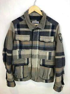 Rare Sisley Benetton Italian Northwest Territories Plaid Wool Jacket Coat Small