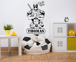 Deadpool Marvel DC Comics Wall Art Decal Sticker Home Decor Bedroom personalise