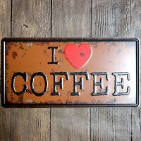 Metal Tin Sign i love coffee Decor Bar Pub Home Vintage Retro Poster Cafe ART