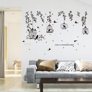 Black Birdcages With Leaves And Flying Birds Vinyl Art Wall Sticker Home Decor