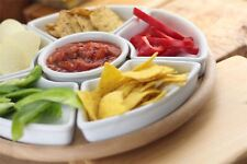 Revolving Lazy Susan Snack Ceramic Bowls With Wooden Stand Party Tableware