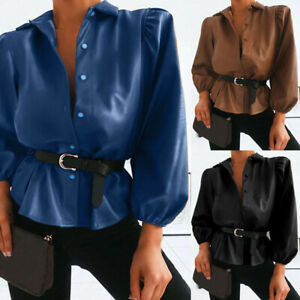 ZANZEA UK Womens Faux Leather Wet Look Tops Shirt Puff Sleeve Party Club Blouse