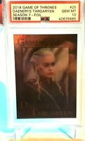 Game of Thrones DAENERYS TARGARYEN Foil Card #25 Rittenhouse Season 7 ~ PSA 10!