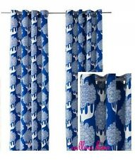 IKEA Kajsamia Blue White Tree Botanical Curtain Panel-2 Grommet Heavy Canvas NEW