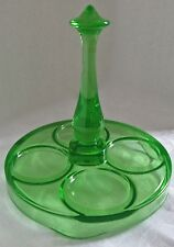 GREEN DEPRESSION VASELINE GLASS HANDLED TUMBLER CARRIER SERVING TRAY