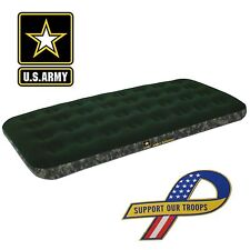 Bestway Flocked Inflatable Camping Air Bed Mattress - Army Twin | 90101