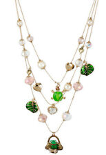BETSEY JOHNSON Walk In The Park Frog in Basket Turtle Charm Illusion Necklace