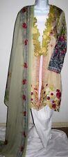 Ladies NEW Coat style Kamiz, kameez, salwar, shalwar pants, white green sz Large