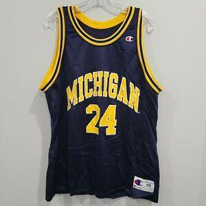 Rare VTG 90s Champion Fab Five Michigan Wolverines Jimmy King 24 Jersey 48 XL