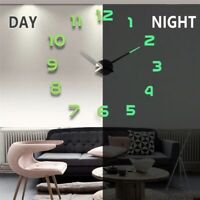 Large 3D Wall Clock Home Decor Room Modern Mirror Design Art Sticker DIY 2021