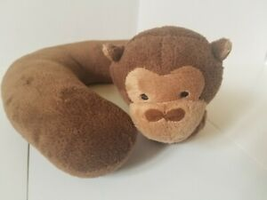 Gold Bug Plush Neck Pillow Brown Monkey Travel Baby Infant Lovey 8 inch