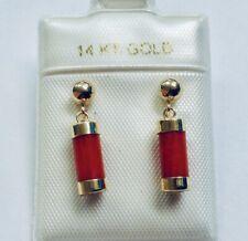 Red Coral Tube Dangle Earrings New listing 14K Yellow Gold Genuine Aka