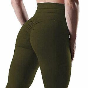 Women High Waist Yoga Leggings Ruched Sports PUSH UP Pants GYM Fitness Sportwear
