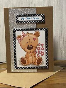 Handmade Card Bear Get Well Soon  4x6 Inch.