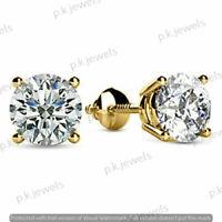 2.00Ct Round-Cut VVS2 Brilliant Diamond Stud Earring 14k Yellow Gold Finish