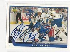 93/94 UD Autographed Hockey Card Bob Sweeney Buffalo Sabres