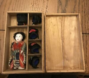 Antique Miniature Japanese Doll With 5 Wigs In Wooden Box