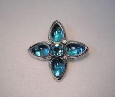 David Yurman Sterling Silver Gold Blue Topaz Diamond Flower Teardrop Enhancer