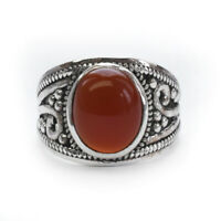Natural Carnelian Ring 925 Sterling Silver Handmade Jewelry Ring Size 7 US