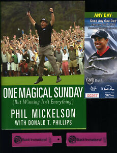 Phil Mickelson signed book 1-25-2008 Buick Invitational Tigerticket Torrey Pines