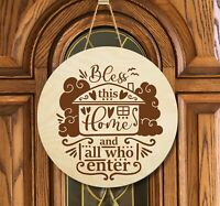 Door Sign Bless this Home Engraved Unfinished Wall Decor