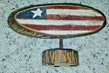 Carved Wood American Flag USA Made Decorative Piece Red White & Blue Rustic